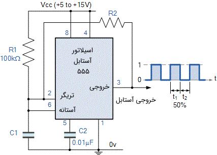 مدار اسیلاتور 555 آستابل اصلاح شده با چرخه وظیفه 50 درصد