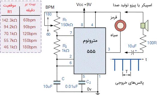 مدار یک مترونوم الکترونیکی با استفاده از اسیلاتور 555