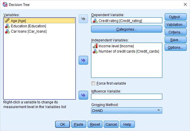 Decision-Tree-dialog box
