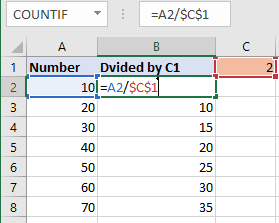 divide-column-number-excel with absolute reference