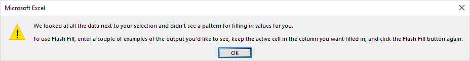 Flash Fill error dialog