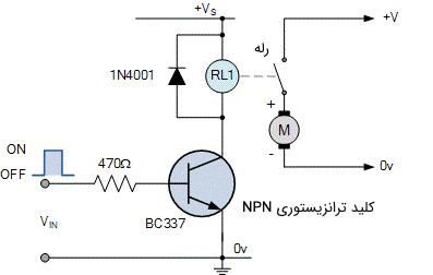 مدار واسط خروجی متداول برای اتصال یک رله الکترومکانیکی و یک موتور DC