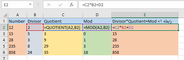 mod and quotient function in excel