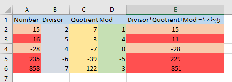 problem in mod and quotient function in excel