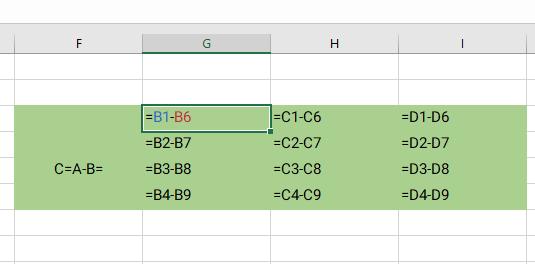 subtract two matrix without matrix