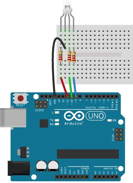 اتصال LED سهرنگ به Uno