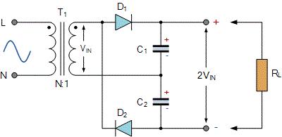 مدار ضرب کننده ولتاژ تمام موج ساده