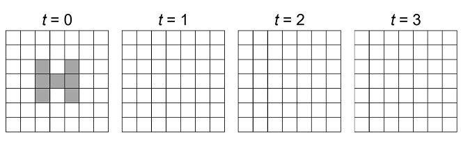 اتوماتای سلولی دو بعدی تمرین ۲