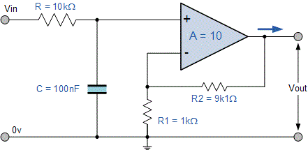 مدار فیلتر اکتیو پایین گذر مثال ۱