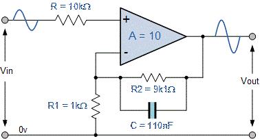 مدار سادهشده مربوط به یک فیلتر پایین گذر اکتیو غیر معکوس کننده