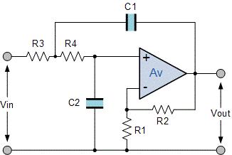 مدار یک فیلتر اکتیو پایین گذر مرتبه دو