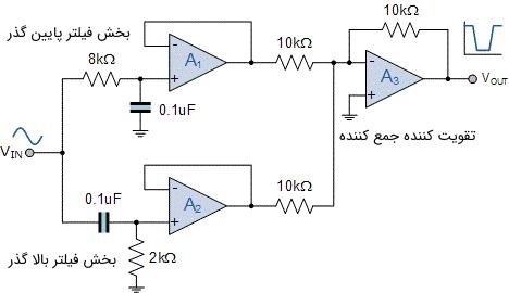 مدار فیلتر میان نگذر طراحی شده برای مثال 1