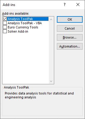 Excel Analysis ToolPack