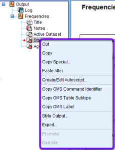 right click menu in spss output outline
