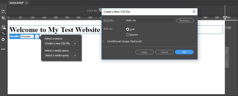 ساخت فایل استایل CSS در دریم ویور