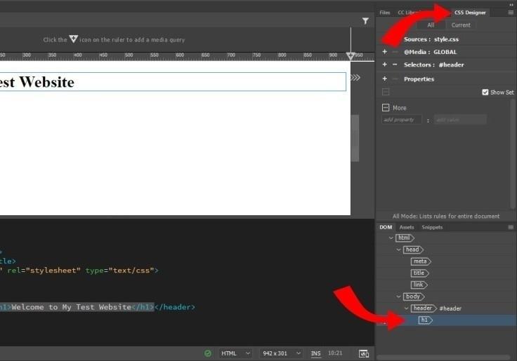 ویرایش تیتر در دریم ویور با CSS