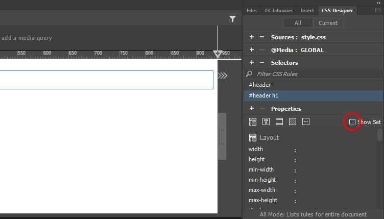 ویرایش کد CSS در دریم ویور