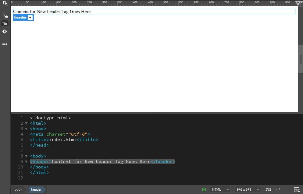 کد HTML هدر در دریم ویور