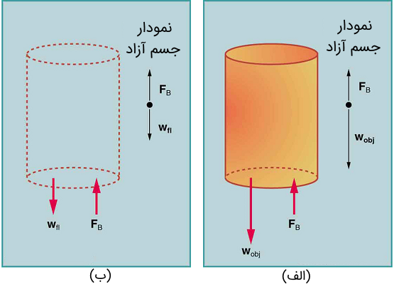 (الف) یک جسم غوطهور در یک مایع، نیروی شناوری $$F_B$$ را تجربه میکند. اگر $$F_B$$ از وزن جسم بیشتر باشد، جسم بالا میرود. اگر $$F_B$$ کمتر از وزن جسم باشد، جسم غرق میشود. (ب) اگر جسم برداشته شود، با سیالی به وزن $$w_{fl}$$ جایگزین میشود. از آنجا که این وزن توسط سیال اطراف پشتیبانی میشود، نیروی شناوری باید برابر با وزن سیال جابجایی شده باشد. یعنی $$F_B = w_{fl}$$.