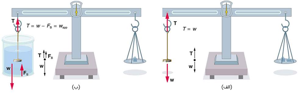 (الف) سکه در هوا وزن میشود. (ب) وزن ظاهری سکه در حالی تعیین میشود که کاملاً در مایع با چگالی معلوم فرو میرود.