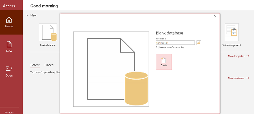 access and blank database