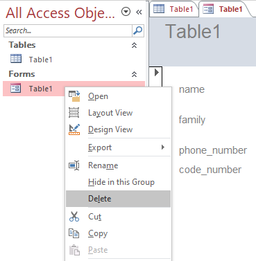 delete or rename form in access