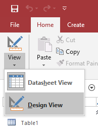 design view access table create