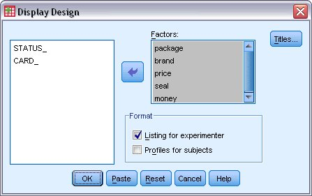 display design in orthogonal Design SPSS