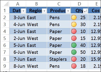 excel sort by icon