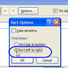 excel sort left to right
