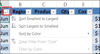 excel sort on filter
