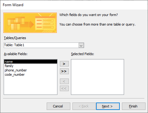 form wizard in access