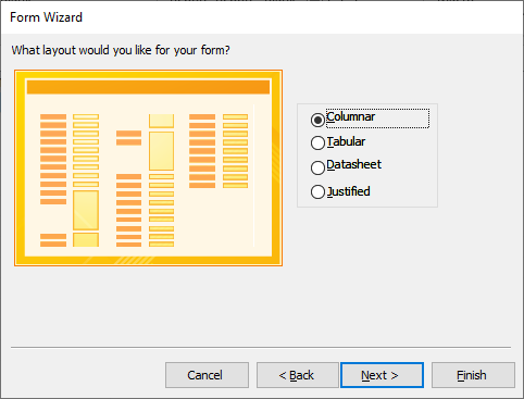 layout form wizard in access