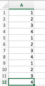 sequence in excel from 1 to 4 spreadsheet