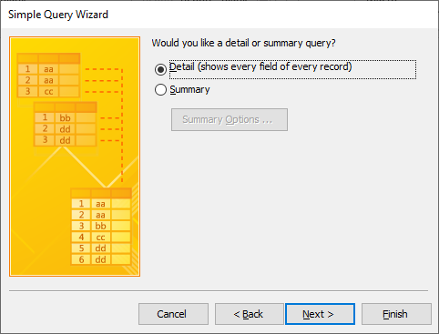 simple query wizard detail