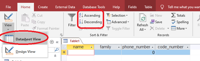 sorting table in access