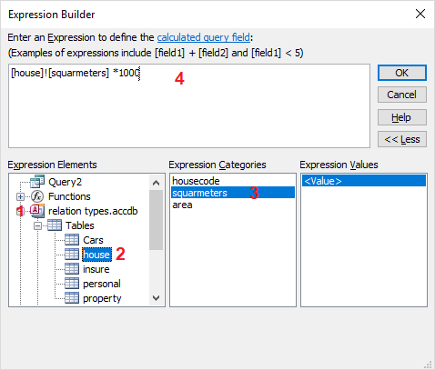 calculated field in query design