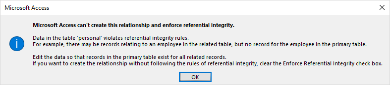 error on enforce relations in access
