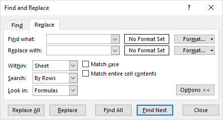 find and replace dialog box options
