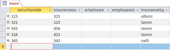 table insurance in access