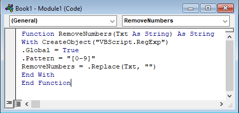vba code to remove number from text