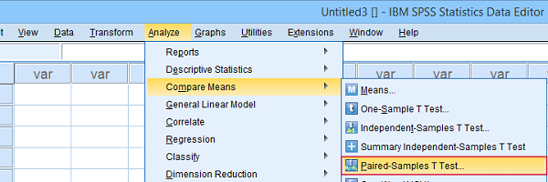 Analyze compare means paired samples t test