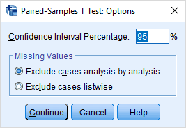 options for paired samples t test