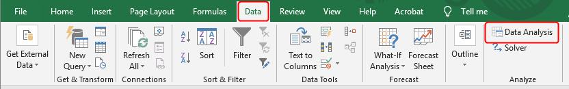 Excel data analysis menu
