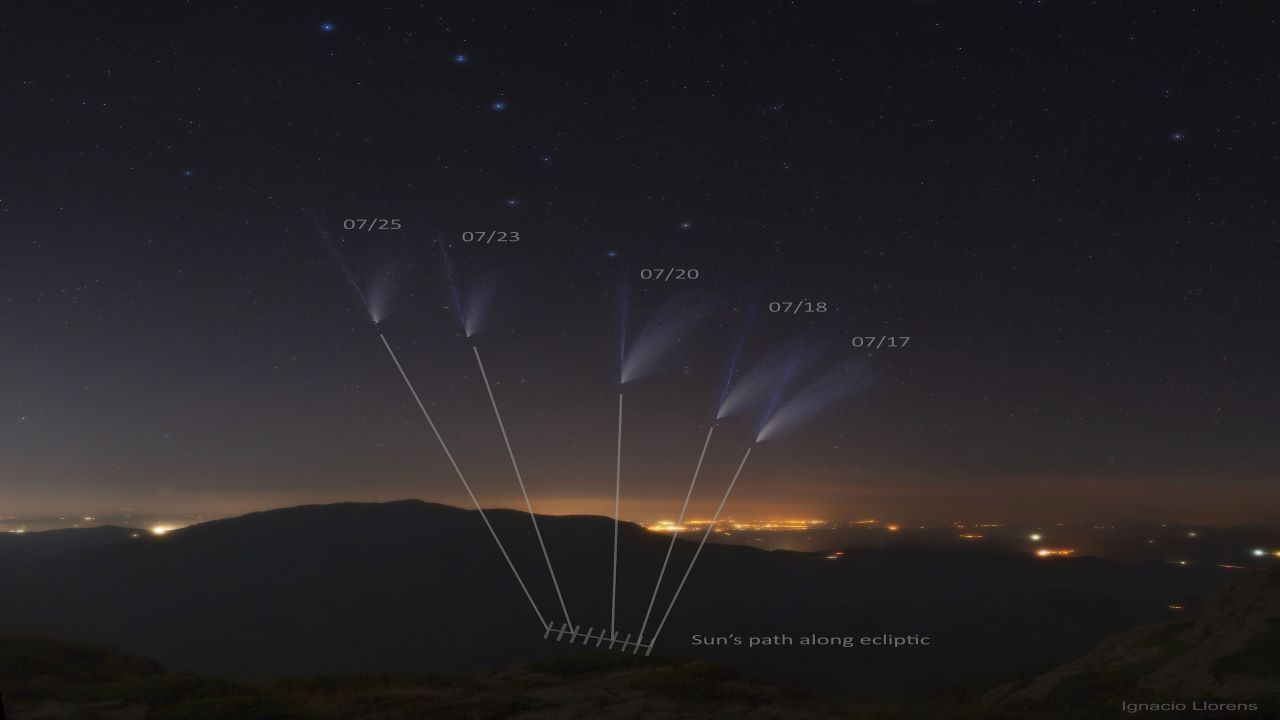 جابجایی دنباله های دنباله دار نئووایز — تصویر نجومی