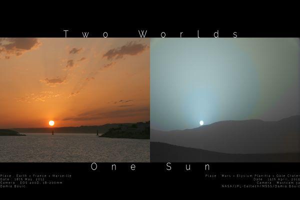 غروب آفتاب در مریخ و زمین