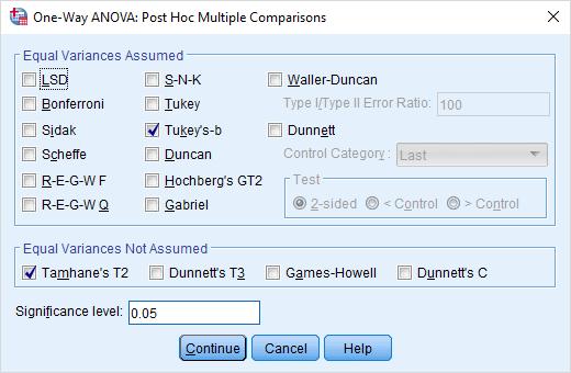 one way anova dialog for example post hoc