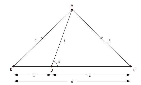 قضیه استوارت برای مثلث متساویالساقین