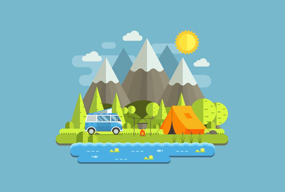 طراحی منظره کوهستان با سبک مسطح در ایلاستریتور | راهنمای گام به گام