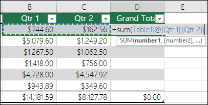 calculated columns in table
